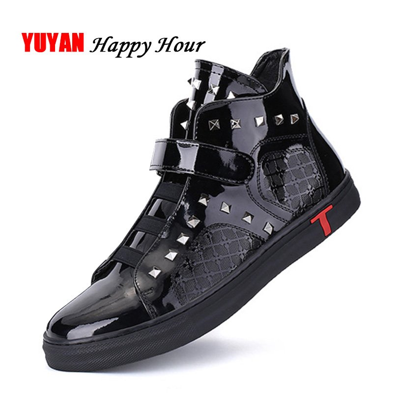 Spring and Autumn Boots Men High top Sneakers Fashion Mens Shoes Man Brand Rivets Shoes A520