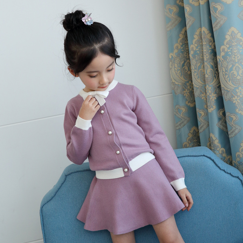 Girls Fashion Christmas Clothes Sets Knitted Sweater + Knitted Skirt Autumn Children Clothing Kids Outfits Girls Clothing Sets christmas kids clothing sets 100