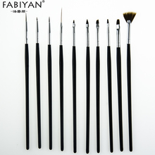10Pcs Nail Art Brush Liner Dotting Fan Design Acrylic Builder Flat Crystal Painting Drawing Carving Pen UV Gel Manicure Tool Set