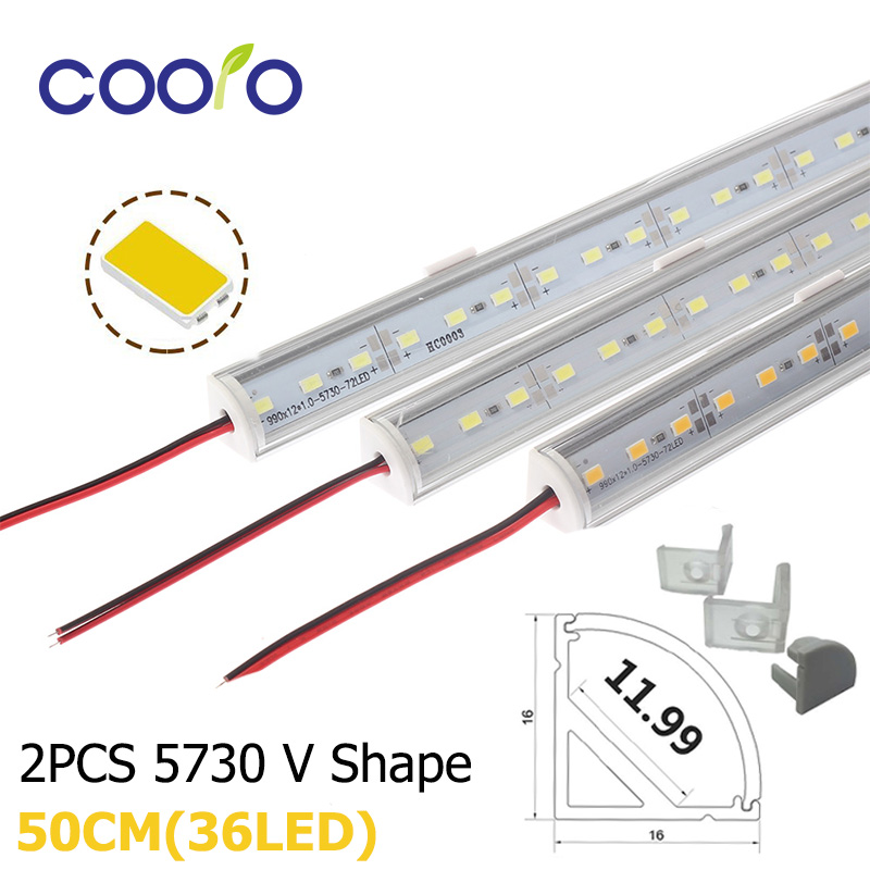 2PCS/Lot 50CM LED Bar Light 5730 V Shape Corner Aluminum Profile With Curved Cover, Wall Corner Light DC12V, LED Cabinet Light