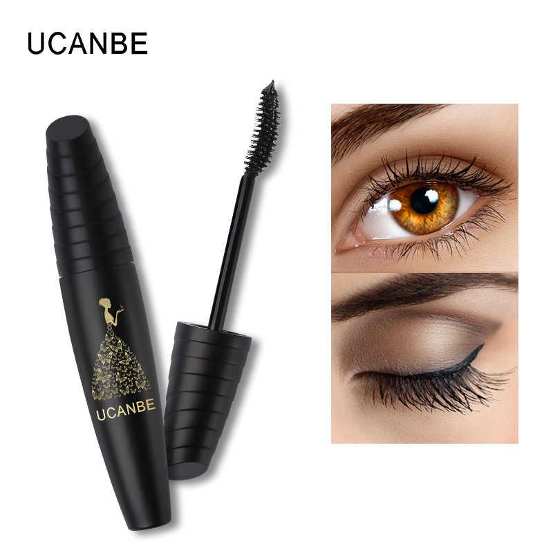 c8f9ac58eed ... UCANBE Brand Black Rimel Mascara Waterproof Bent Brush Big Eye Makeup 3D  Fiber Lash Thick Volume ...