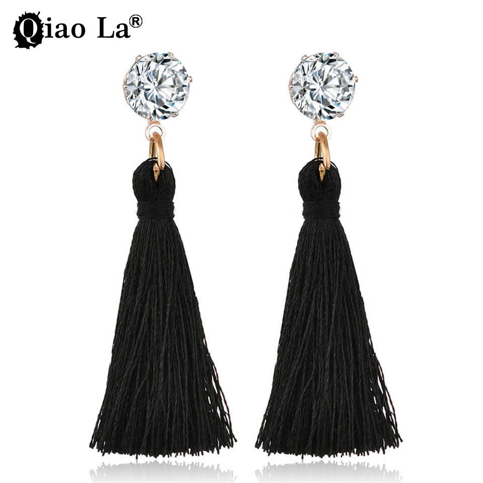 Cute/Romantic Long Color Tassel Drop Earrings Bohemian Ethnic Style Inlaid Rhinestone Alloy Earrings for Women Jewelry Wholesale