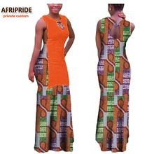 2017 african women casual dress AFRIPRIDE private custom patchwork pattern floor length dress 100% pure cotton plus size A722599