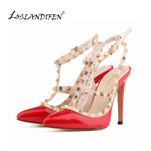 LOSLANDIFEN Free shipping women pumps stiletto fashion sexy hollow rivets stitching fine with high-heeled shoes Wedding 302-5PA