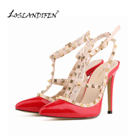 Fashion Rivets Shoes High Heeled Pointed Toe Hasp Thin Heels Sandals Rivet Valentin Pointed Toe