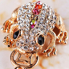 Free Shipping High Quality Gold Plated Riches Money Toad Coin Frog Keychain Rhinestone Keyring Creative Jewelry