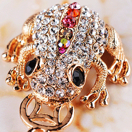 High Quality Gold Color Riches Money Toad Coin Frog Keychain Rhinestone Keyring Creative font b Jewelry