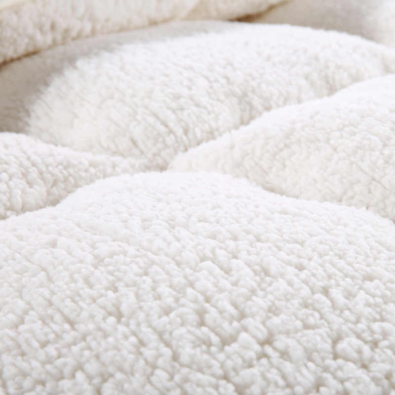 Kurze Feste Warme Sherpa Berber Fleece Stoff Polyester Füllstoff dicke Quilt Winter Tröster Decke königin Twin könig Größe