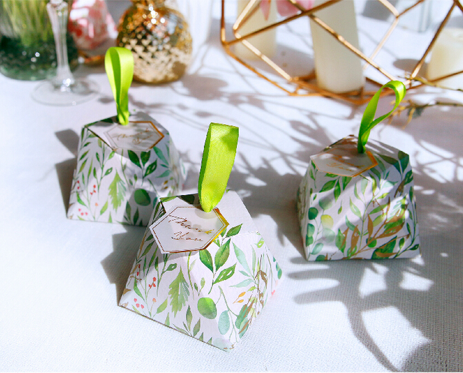 New Diamond Shape Green leaves Forest style Candy Box Wedding Favors And Gift Boxes Party Supplies thanks Gift Chocolate Package (7)