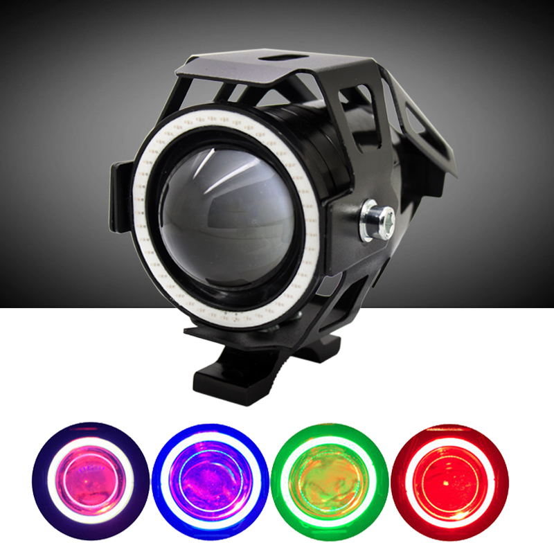 1pcs High Power U7 CREE Chip 125w Motorcycle Projector Headlight 3000LM Motorbike Head Fog Lamp Angle Eyes +  Devil Eyes