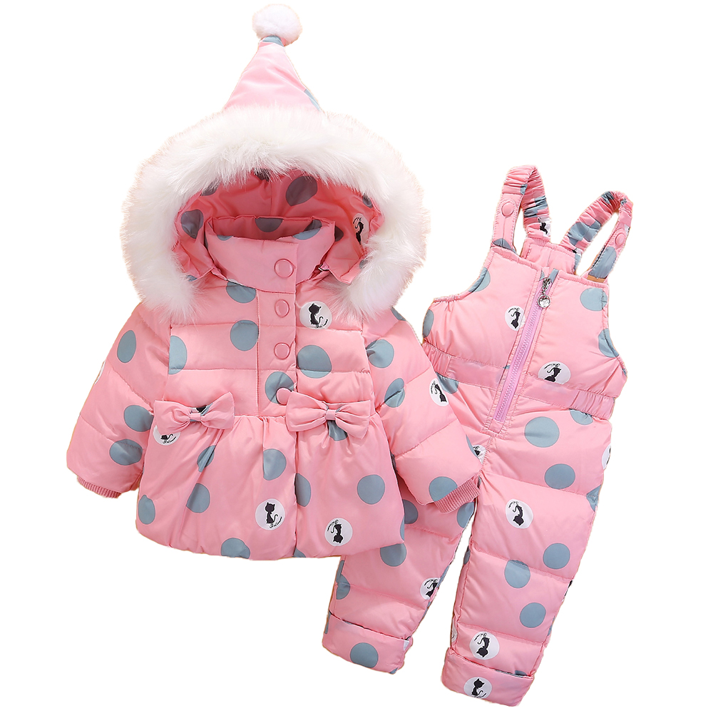 Dollplus 2018 Baby Winter Clothing Sports Suit for Girls 2pcs Set Down Jacket+pants Toddler Baby Outdoor Warm Parkas Suits цена