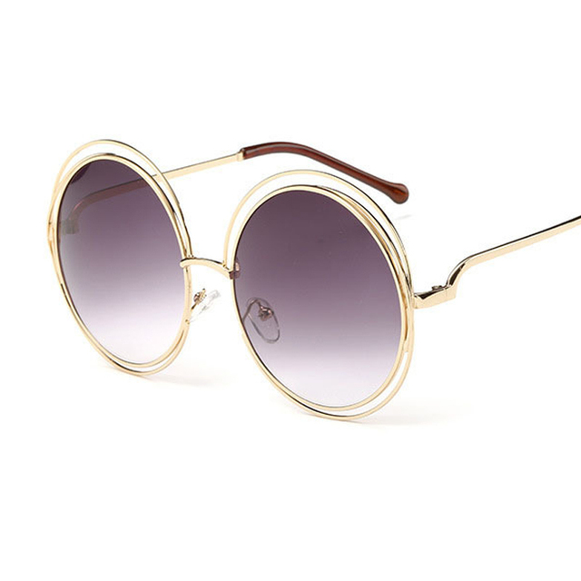 NEW High Quality Elegant Round Wire Frame Sunglasses Women Mirror ...