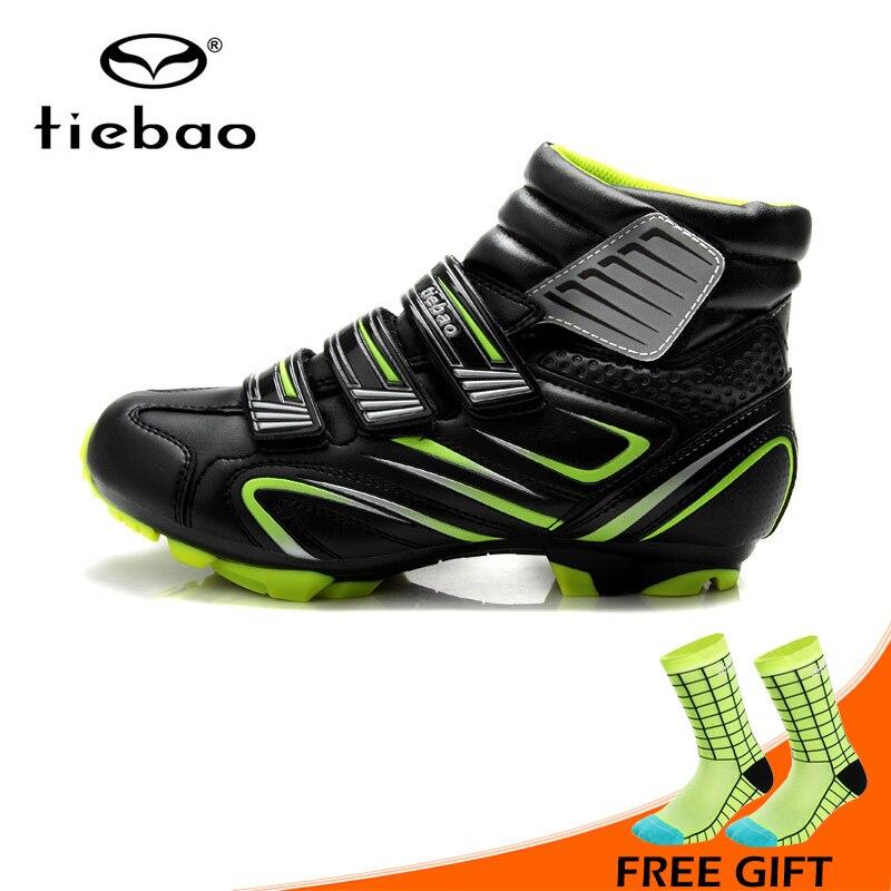 Tiebao hiver chaud coupe-vent vtt chaussures de vélo bottes respirant antidérapant chaussures de cyclisme VTT vélo chaussures auto-bloquantes
