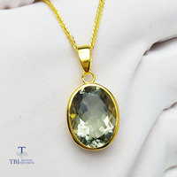 TBJ,simple and classic pendant with natural green amethyst gemstone in 925 sterling silver yellow gold color for women as a gift