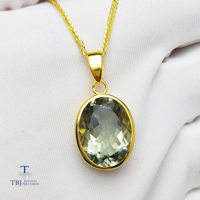 Tbjsimple and classic pendant with natural green amethyst gemstone tbjsimple and classic pendant with natural green amethyst gemstone in 925 sterling silver yellow aloadofball Images