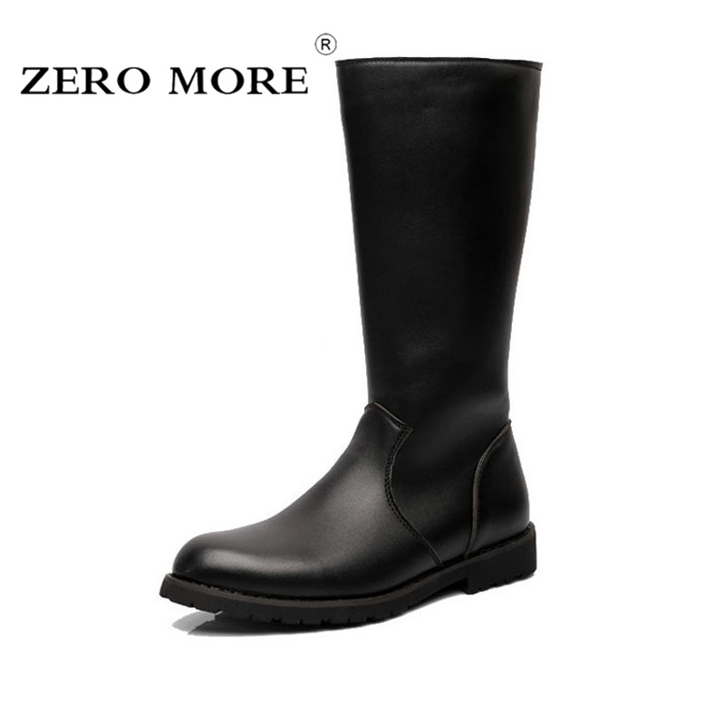 ZERO MORE Army Boots Men High Military Combat Boots Metal Buckle Punk Mid Calf Male Motorcycle Boots Zipper Men's Shoes Parade mens winter boots warm military mid calf durable army 2017 fashion combat motorcycle high top shoes lace up autumn black male