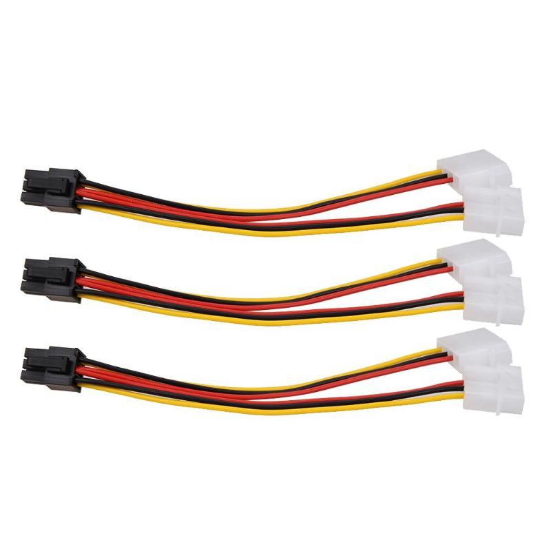 3 pces 4pin para 6pin linha de alimentação ide para pci express placa de vídeo pci-e atx psu conversor de alimentação cabo duplo molex para pcie 6pin adaptador