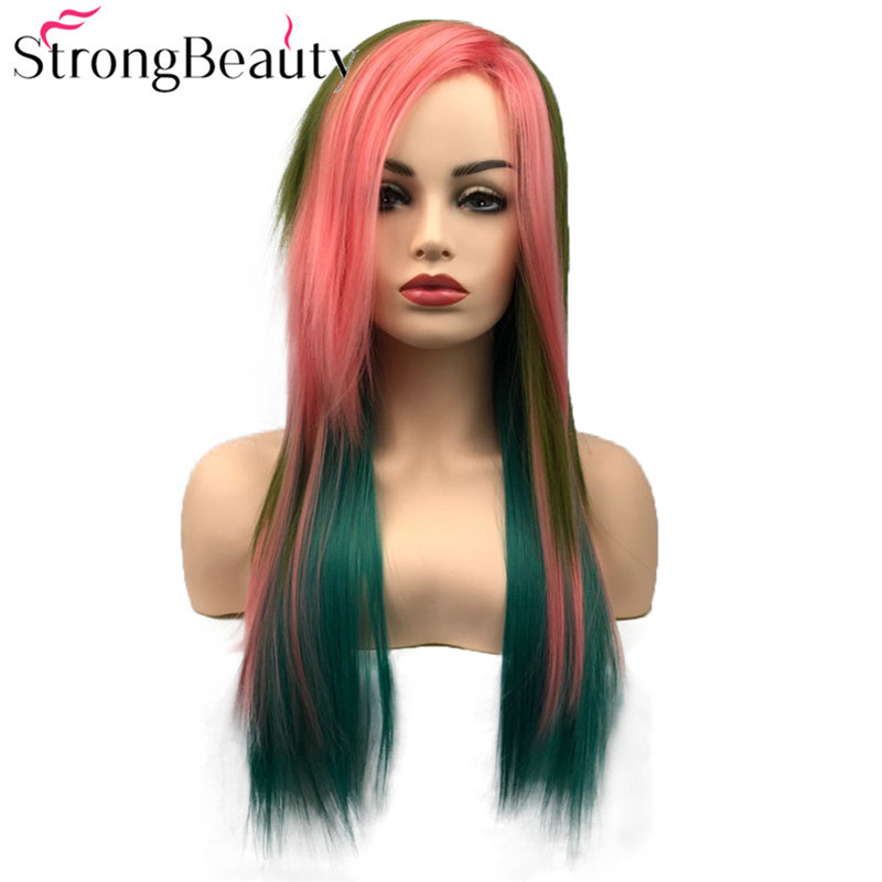 StrongBeauty Synthetic Long Straight Wig Multicolour Wig Cosplay Wigs