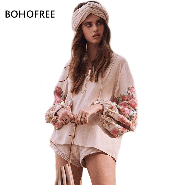 da42439fc2 US $37.12 |BOHOFREE CLEO BLOUSE Femme Tassel Lantern Sleeve Floral  Embroidery Blusas Women Casual V Neck Smock Tops Boho Tops Gypsy Blouses-in  Blouses ...