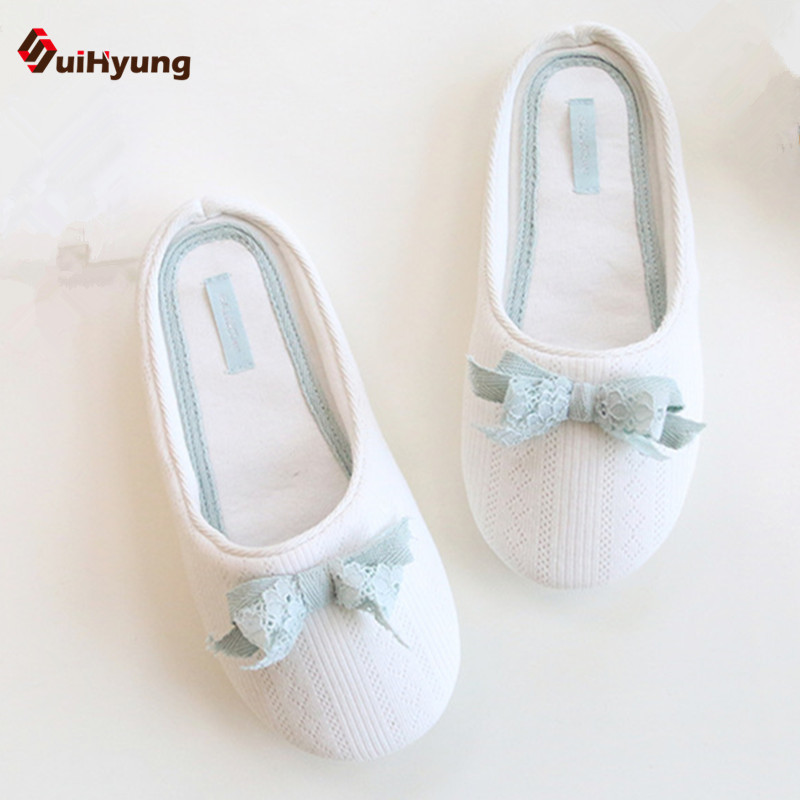 SuiHyung Spring New Women's Slippers Lace Bow White Indoor Shoes Soft Bottom Non-slip Home Slippers Bedroom Floor Shoes women floral home slippers cartoon flower home shoes non slip soft hemp slippers indoor bedroom loves couple floor shoes