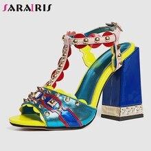 купить SARAIRIS New Luxury Brand High Heels Sandals Women 2019 Summer Big Size 33-43 Genuine Leather Shoes Women Party Shoes Woman по цене 3424.54 рублей