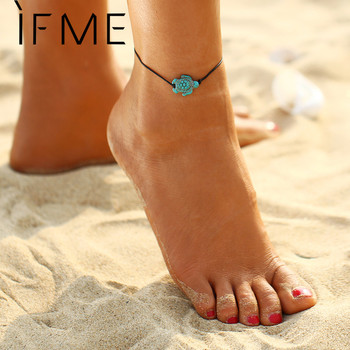 Stone Beads Anklets Tortoise Design With Black Leather Cord