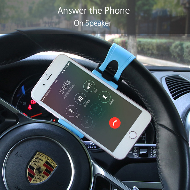 Car Phone Holder Steering Wheel Bike Clip Mount Rubber Band Stand Holder Automobiles & Motorcycles Unisex color: Black|Blue|Red