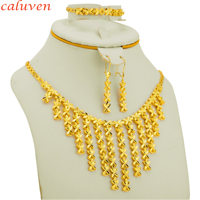 982880cd85343 US $11.9 20% OFF|Ethiopian Jewelry Sets Gold Color Small Flowers  Arab/African Jewelry Party Gifts Necklace/Earring/Bracelet for  Women/Girls-in Jewelry ...