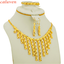 Ethiopian Jewelry Sets Gold Color Small Flowers Arab/African Jewelry Party Gifts Necklace/Earring/Bracelet for Women/Girls