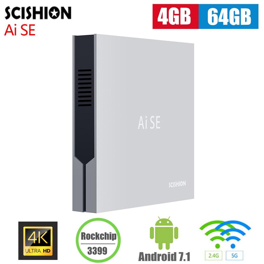 Scishion Ai SE Smart TV Box Android 7.1 4 GB 64 GB 2.4G 5G WiFi prise en charge 4 K H.265 100 Mbps LAN USB3.0 type-c décodeur