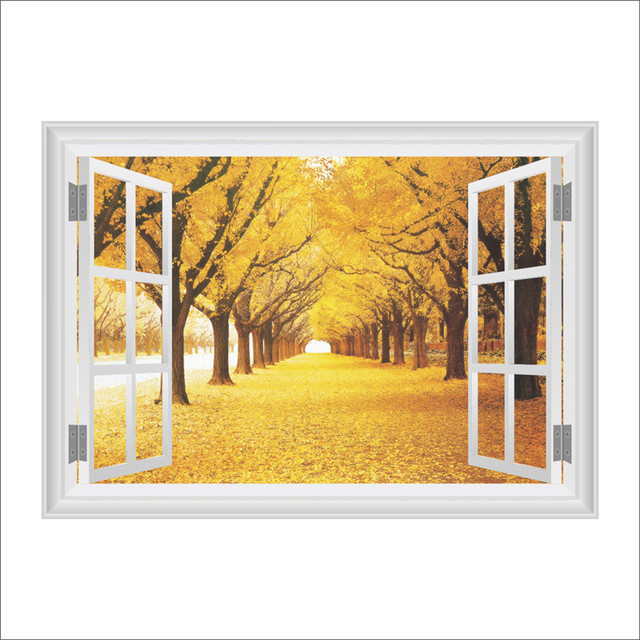 Large Removable Fall leaves 3D Window Decal wall stickers Home Decor ...