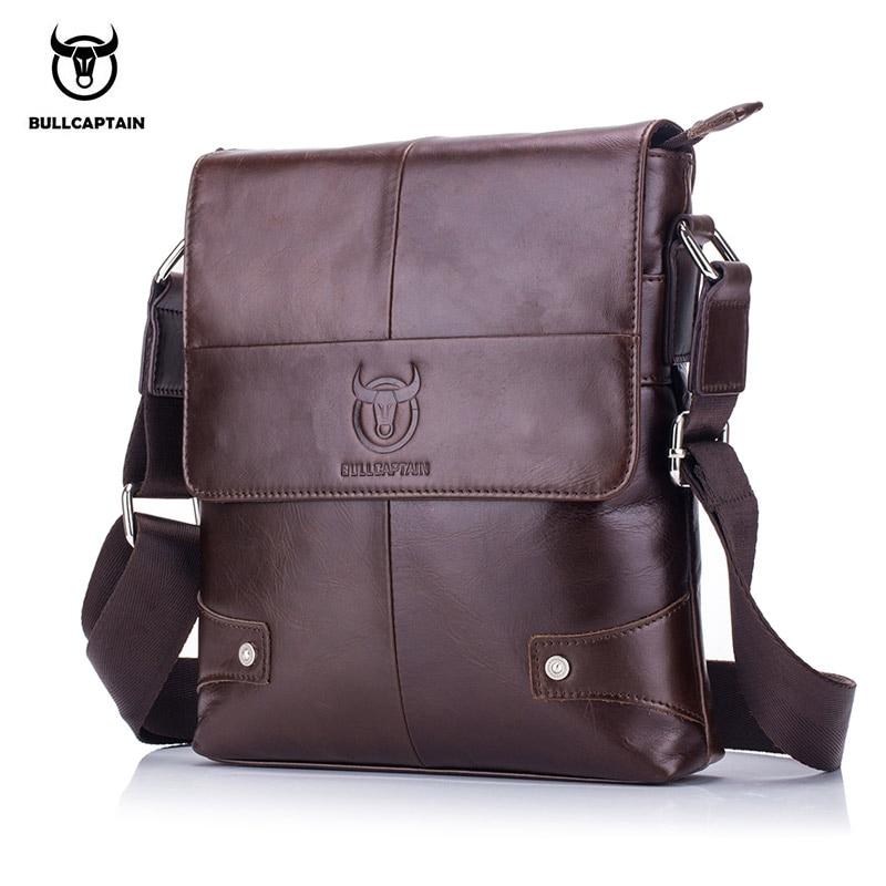 BULLCAPTAIN 2018 Men briefcase Bag Genuine Leather Man Crossbody Shoulder Bag Small Business Bags Male Messenger Leather Bags цены