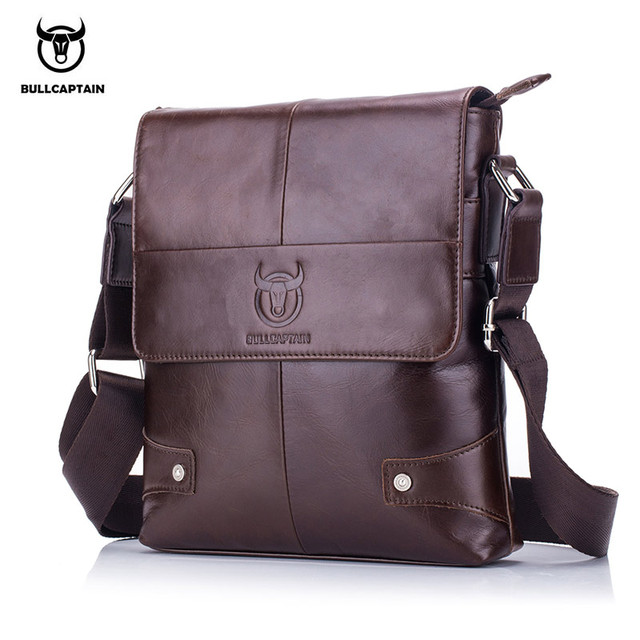 BULLCAPTAIN 2018 Men briefcase Bag Genuine Leather Man Crossbody Shoulder  Bag Small Business Bags Male Messenger 3c2794ccacc63