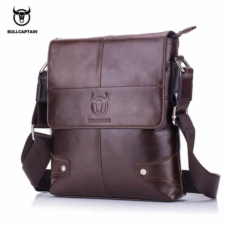 2dc1b8f9e9f3 BULLCAPTAIN 2018 мужской портфель сумка из натуральной кожи мужская сумка  через плечо Маленькие деловые сумки мужские
