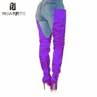 Prova Perfetto/Лидер продаж 2018 года, модные женские эластичные Высокие Сапоги выше колена, высокие сапоги на высоком каблуке, женские эластичные с
