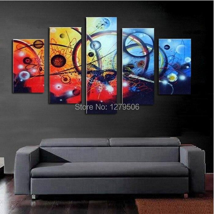 100% Pintado À Mão 5 Pçs/set Colorido Hubble-bolha Quadros Decorativos Home Decor Pintura A Óleo Sobre a Arte Da Lona Para Sala de estar quarto