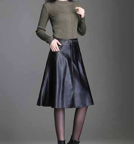 PU odiniai vidutinio ilgio sijonai Moterų darbo drabužiai biuro - Moteriški drabužiai