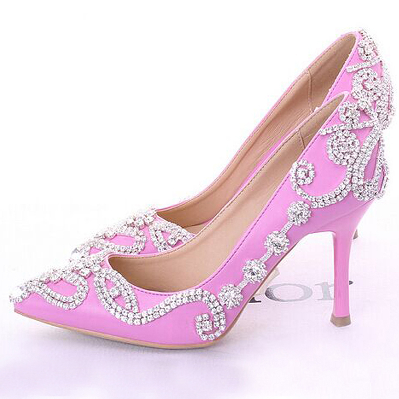 Glamorous Popular Pink Wedding Shoes Bridal Party High Heels With Rhinestone Pointed Toe Three Inch Prom In Womens Pumps From On