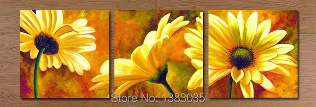 Hand Painted Modern Abstract 3 Panel Floral Oil Paintings On Canvas ...