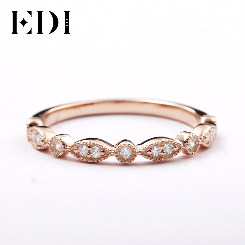 EDI 14kt Rose Gold Natural Diamond Band Ring Fine Jewelry Gifts For Women Diamond Infinity Ring