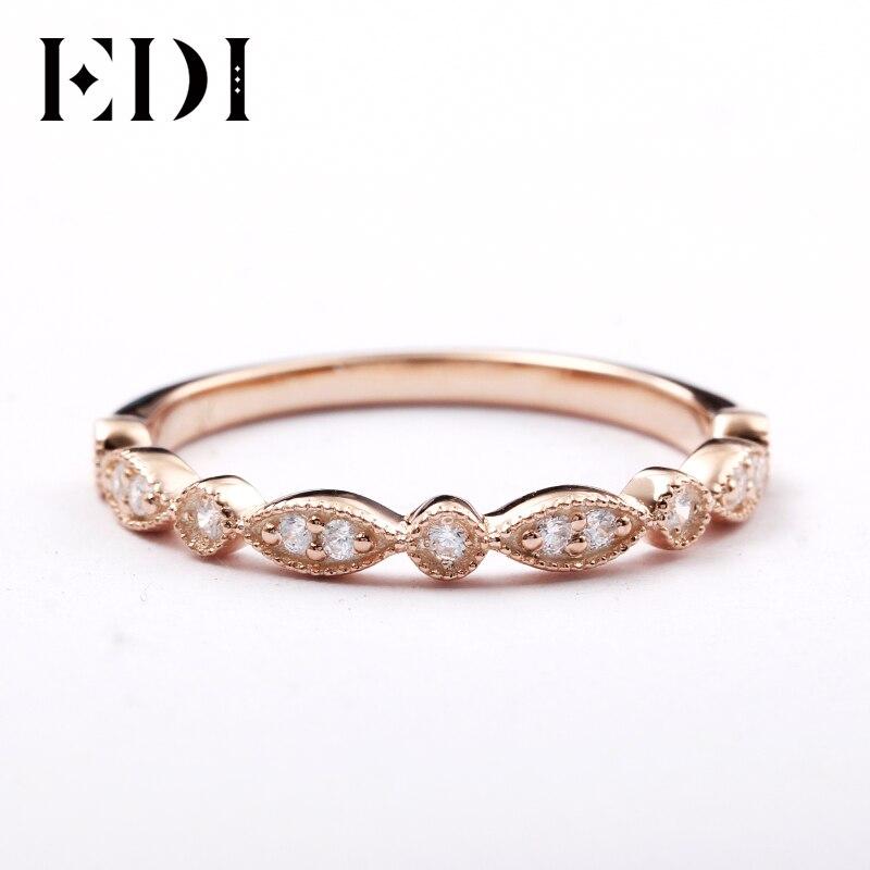 EDI 14kt Rose Gold Natural Diamond Ring Banda Presentes Belas Jóias Para As Mulheres Anel De Diamante Infinito Anel Delicado