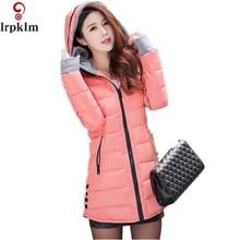 Women's Jacket Winter 2017 New Medium-Long Cotton Blue Parka Plus Size Coat Slim Ladies Casual Pink Clothing Hot Sale YY144