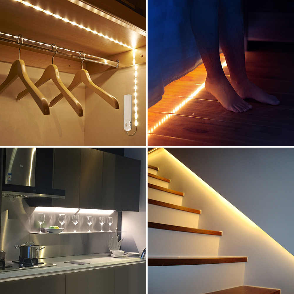 1M 2M 3M LED Strip Motion Sensor Night light Under Bed lamp Tape Battery Powered For Closet Wardrobe Cabinet Stairs Hallway