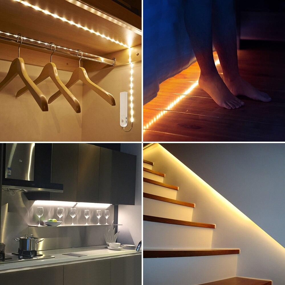 1M 2M 3M LED tira Sensor de movimiento luz de noche bajo la cama lámpara cinta de batería alimentado para armario ropero escaleras pasillo 50 Uds módulo Led Pixel Cadena de luz impermeable 9mm DC5V IP68 Led puntos las letras de Canal Digital LED Luz de píxel RGB blanco JQ