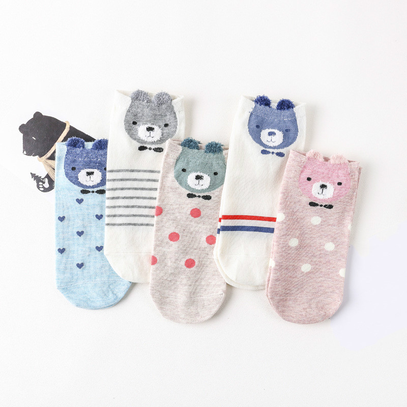 5 Pairs/pack New Women's 3D Animal Ear Woman Ankle   Socks   Comfortable Lovely Animal Cartoon Feather Yarn   Socks   Cotton Boat   Socks