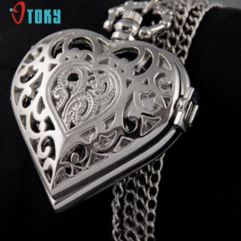 Excellent Quality New Silver Hollow Quartz Heart Shaped Pocket Watch Necklace Pendant Womens Gift Jan-05
