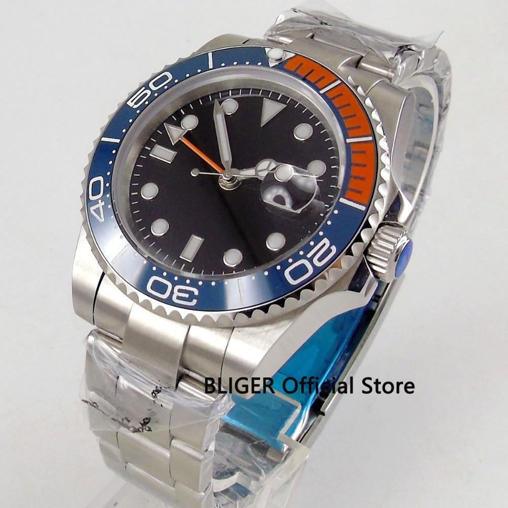 Saphir cristal 40mm BLIGER cadran noir bleu Orange céramique lunette GMT fonction bande inoxydable mouvement automatique montre pour hommes