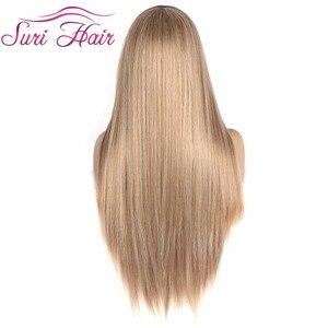 """Image 3 - Suri ผมยาวตรงวิกผมสีบลอนด์ Ombre สีดำรากสังเคราะห์ Wigs สำหรับคอสเพลย์ฟรีเรือทนความร้อน 30"""""""