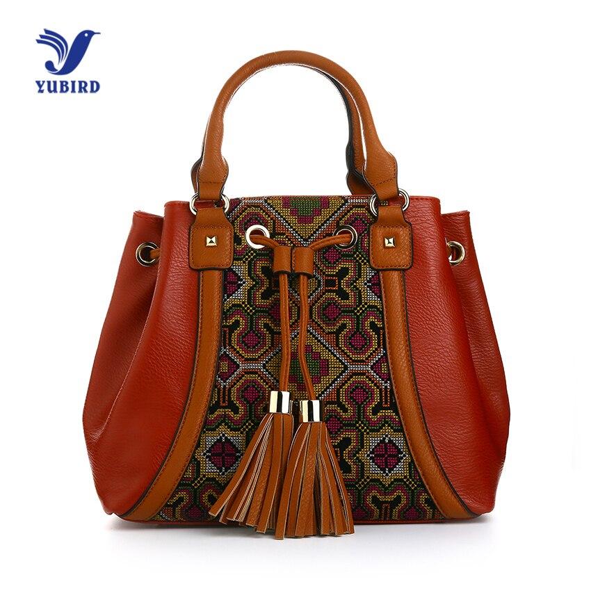 YUBIRD Vintage Women Handbag Shoulder Bag Leather Embroidery Female Bag Crossbody Handbag Large Tassel Bucket Bag sac broderie