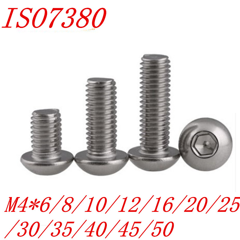 20PCS ISO7380 button head screw M4*6/8/10/12/16/20/25/30/35/40/45/50 304 Stainless Steel Hexagon Socket round Head Screw20PCS ISO7380 button head screw M4*6/8/10/12/16/20/25/30/35/40/45/50 304 Stainless Steel Hexagon Socket round Head Screw